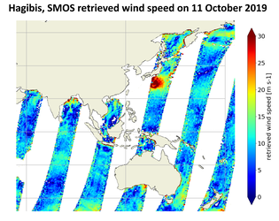 Ocean surface wind speed derived from SMOS