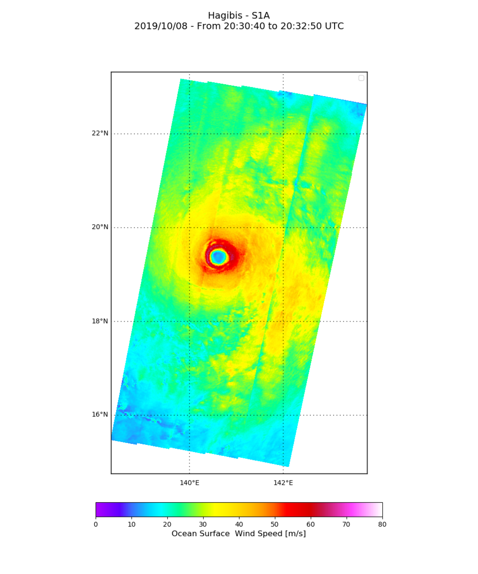 Ocean surface wind speed of Typhoon Hagibis derived from Copernicus Sentinel-1
