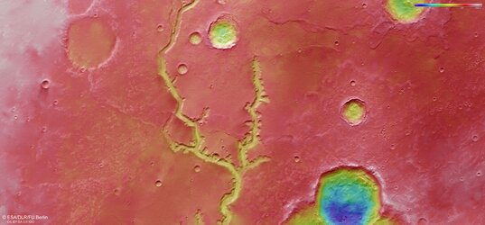 Topographic view of Nirgal Vallis