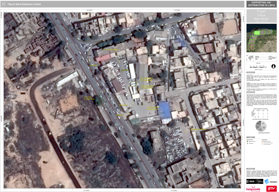 Pléiades-1B imagery capturing truck deliveries at Trig Al Seka Detention Centre in Libya. Analysis delivered to Helpcode by GMV. [Pléiades imagery (24/05/2018), distributed by Airbus. Image analysis and interpretation by GMV (2018) for Helpcode]