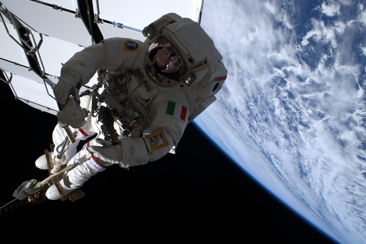 Luca Parmitano during second spacewalk to service AMS-02