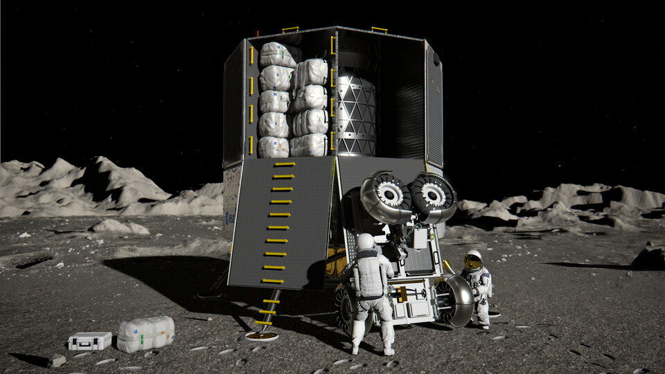Artist's impression of the European Large Logistics Lander (EL3) unloading cargo. This cargo could include a mission to explore lunar caves.