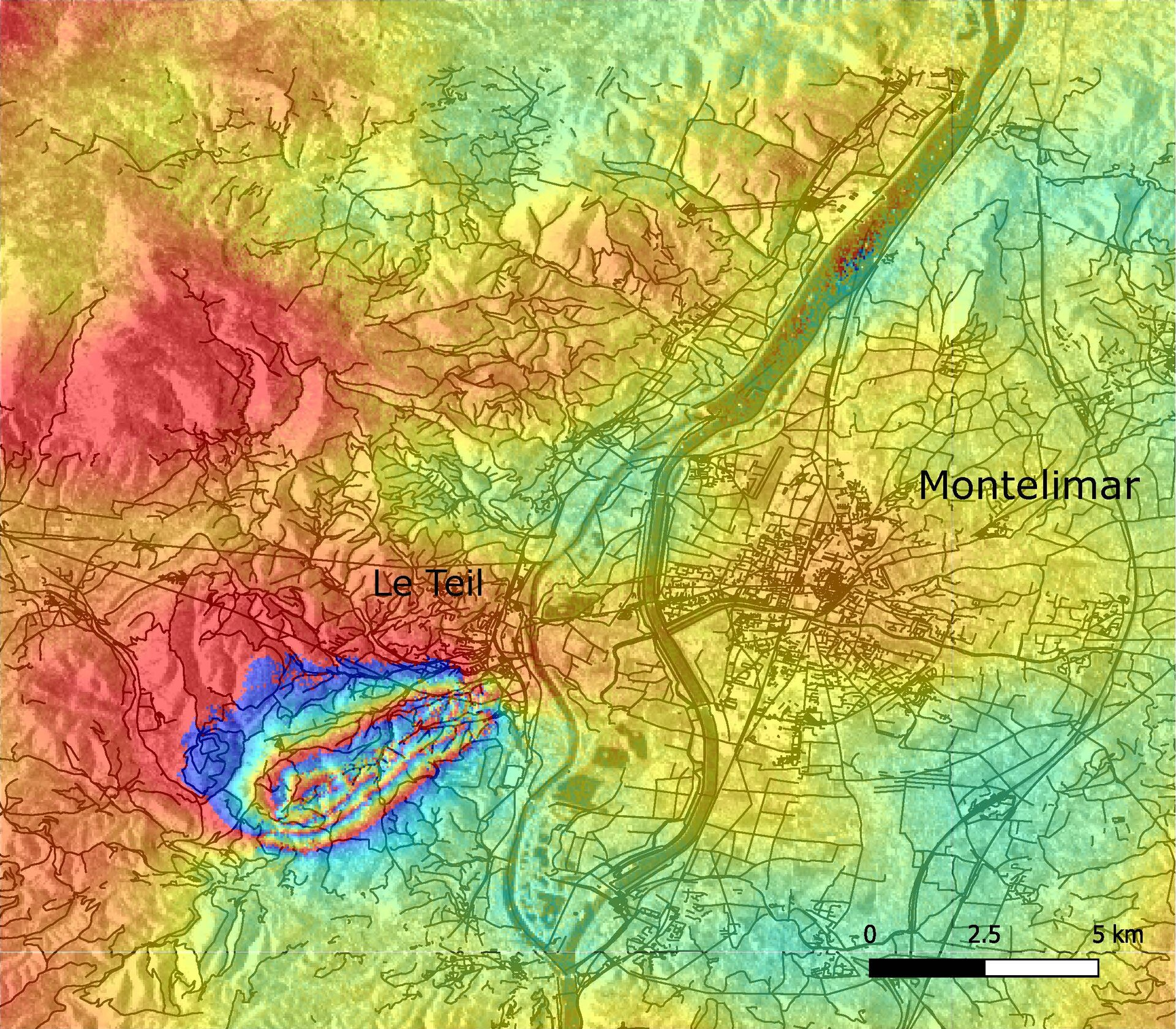 French earthquake interferogram