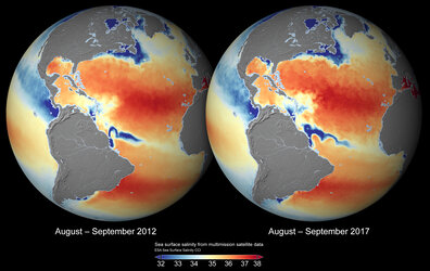 Global sea-surface salinity 2012 and 2017