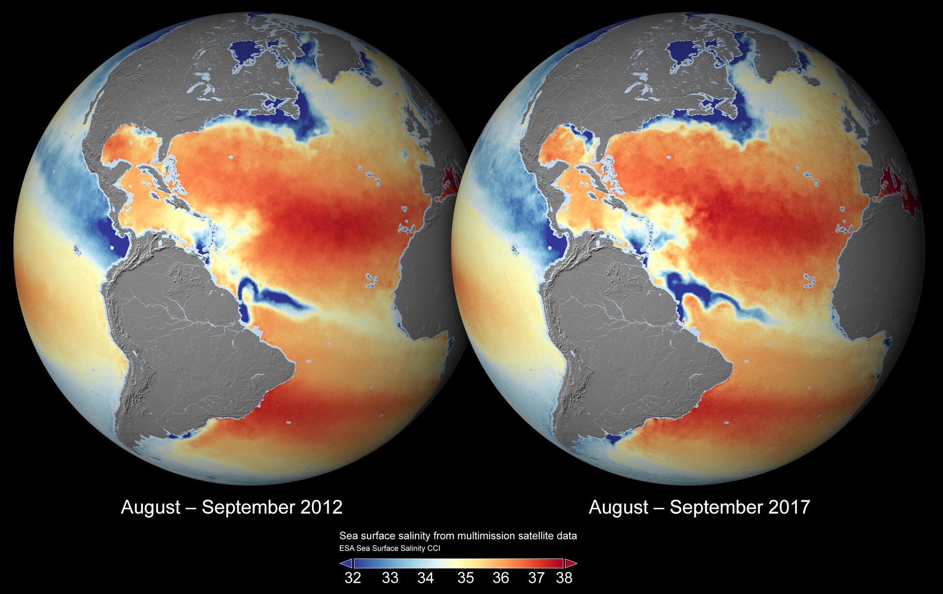 Global sea-surface salinity 2012 and 2017