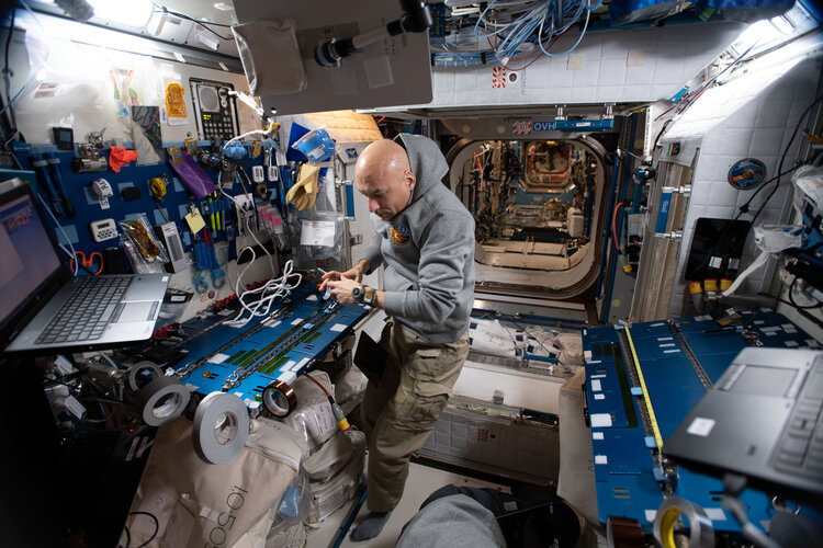 ESA astronaut Luca Parmitano prepares for spacewalk