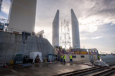 Model Ariane 6 boosters moved to the pad