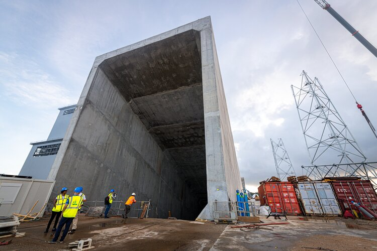 Opening to Ariane 6 concrete flame trench