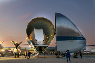 Orion unloading from Super Guppy