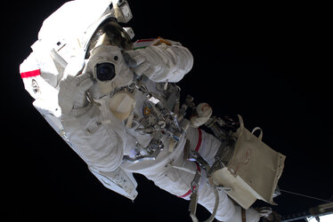 Luca Parmitano snaps a photo during his first spacewalk for AMS