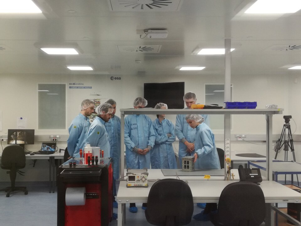 Students visiting the CubeSat Support Facility during the Workshop