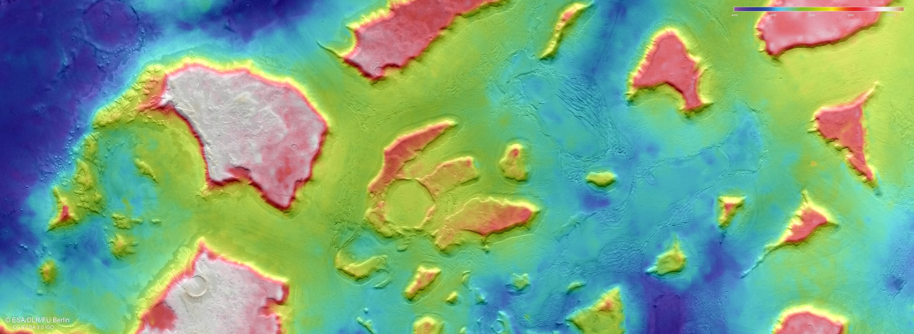 Topographic view of Deuteronilus Mensae