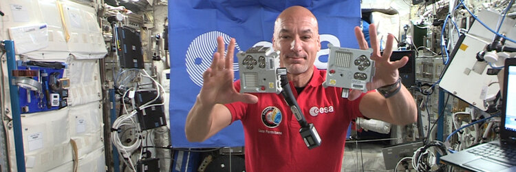 ESA astronaut Luca Parmitano with Ed and Izzy