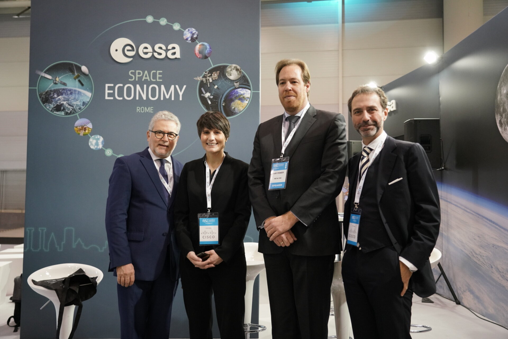 Eric Morel de Westgaver, ESA Director of Industry, Procurement and Legal Services, ESA Astronaut Samantha Cristoforetti, Ray Power, CEO at Metalysis and Luca del Monte, ESA Head of Industrial Policy and SME Division