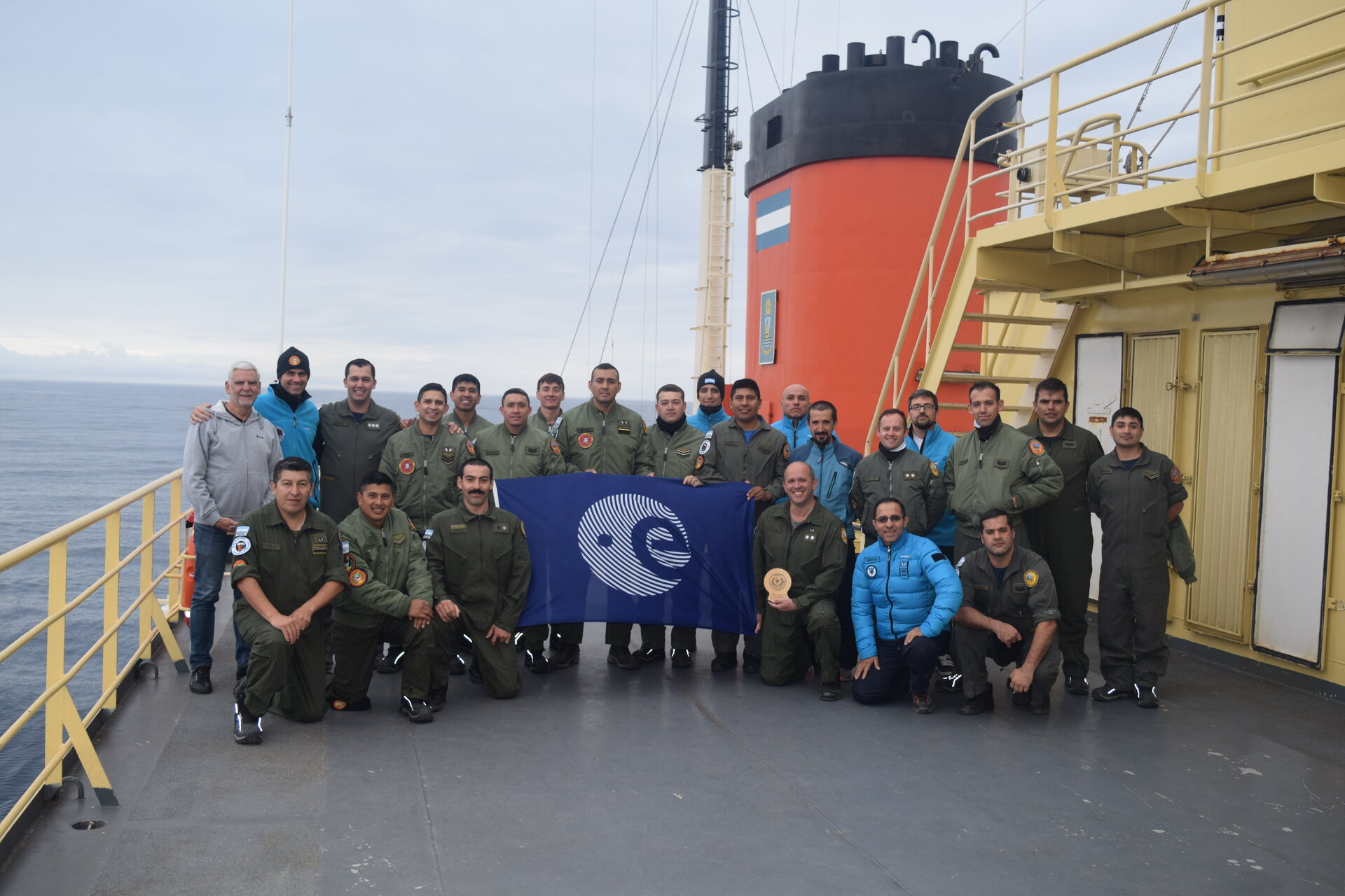 Belgrano base crew and Tempus team on the ARA Alte Irizar icebreaker