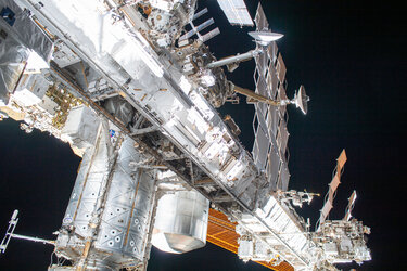 International Space Station during first AMS spacewalk
