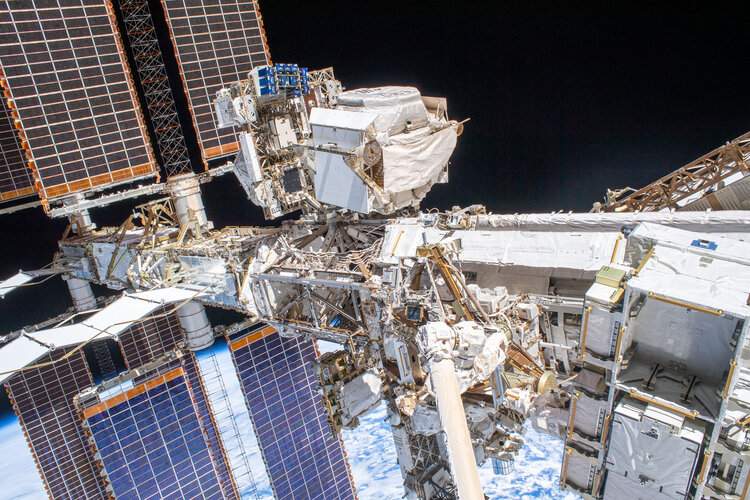 International Space Station seen during spacewalk