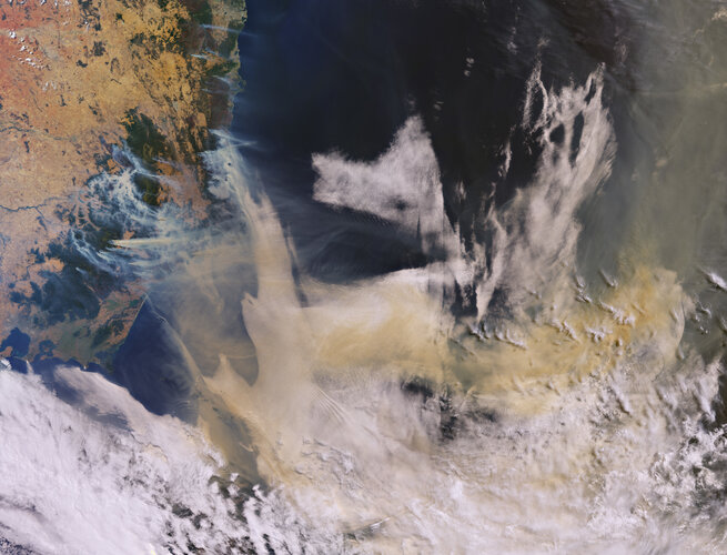 Smoke over New South Wales, Australia, from Copernicus Sentinel-3