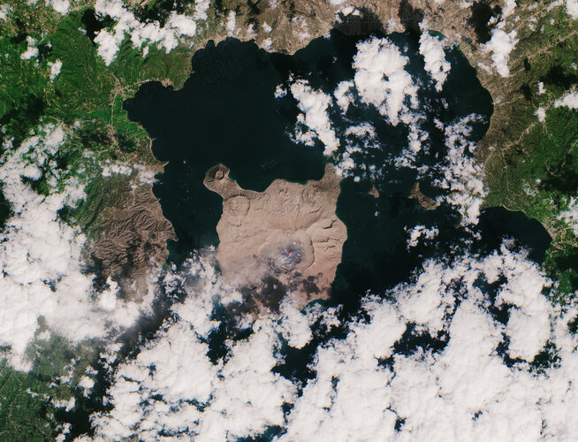 Taal volcano blanketed by ash