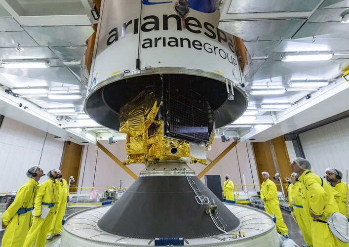The Konnect satellite is placed within the fairing