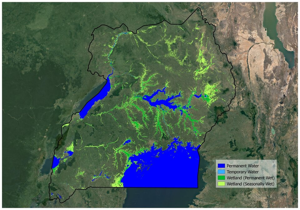 Wetland map of Uganda