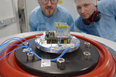 EIRSAT-1 team testing their cubesat