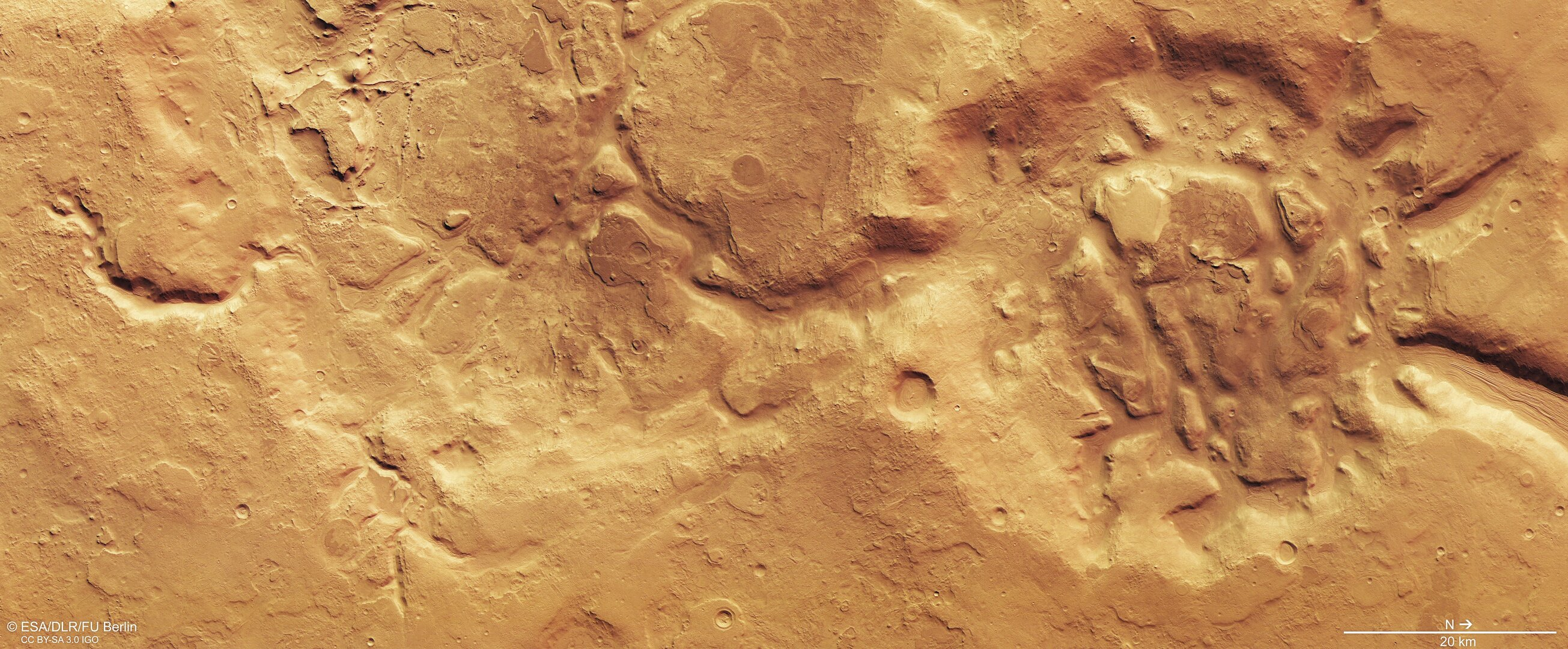 Fragmented terrain on Mars