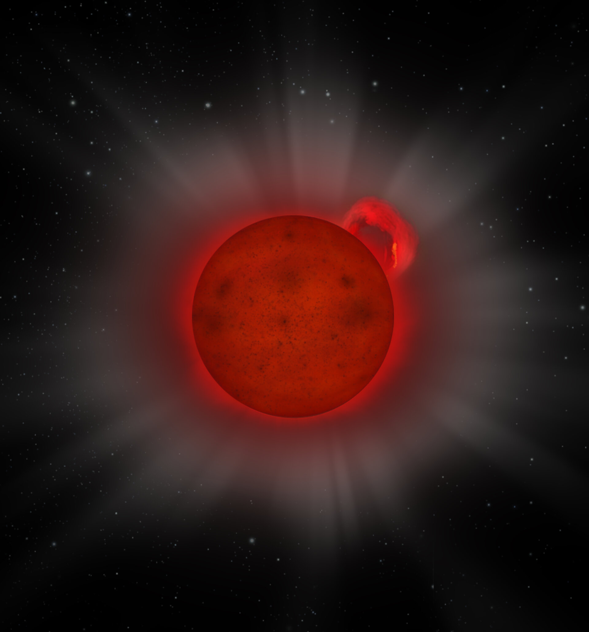 Artist's impression of the giant flare detected on the L dwarf J0331-27