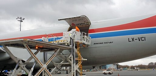 The ESAIL satellite is loaded onto a Cargolux plane