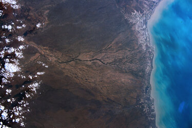 An image taken over Australia during ESA astronaut Luca Parmitano's Beyond mission on the International Space Station.