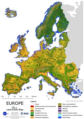 Europe land-cover mapped in 10 m resolution