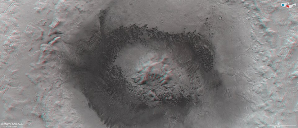 Use red-green or red-blue glasses to view Moreux Crater in 3D