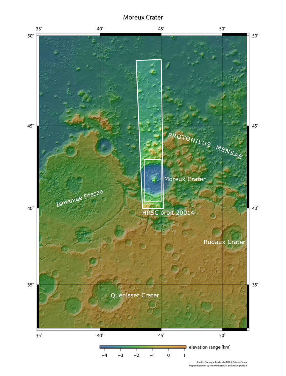 Moreux crater in wider context
