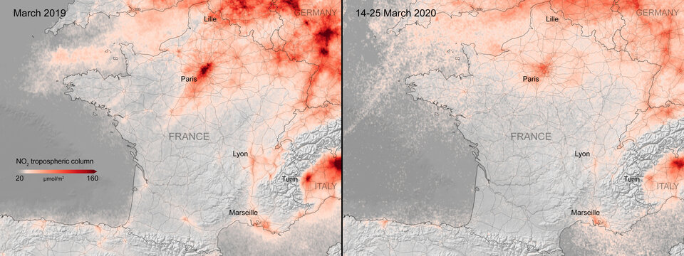 Nitrogen dioxide concentrations over France