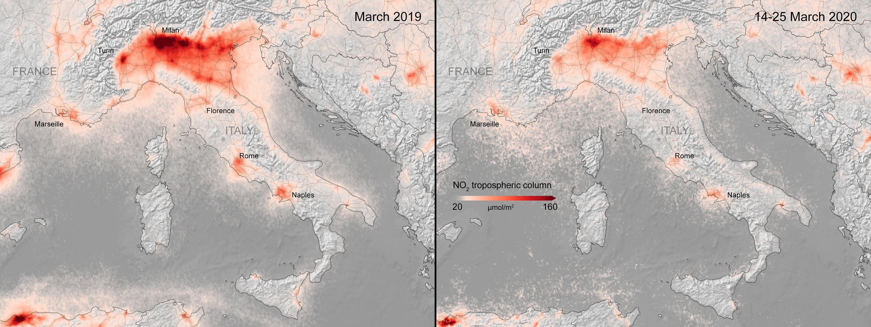 Cartina Satellitare Lombardia.Coronavirus Crolla L Inquinamento Sulle Capitali Europee Le Nuove Immagini Del Satellite Esa Photogallery Rai News