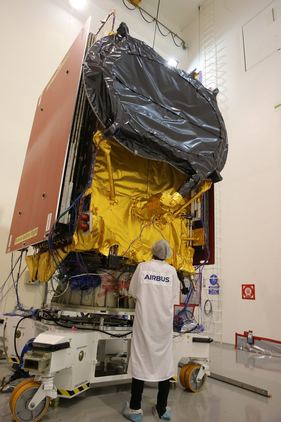 The satellite was shaken to simulate the effects of launch