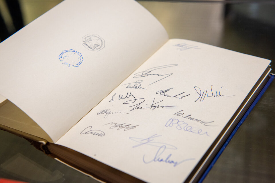 Some 15 astronauts have signed the book