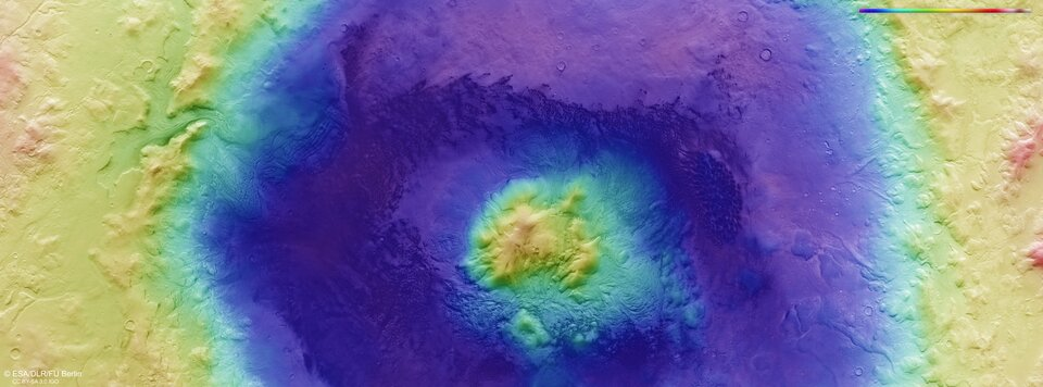 Colour-coded topographic image of Moreux crater