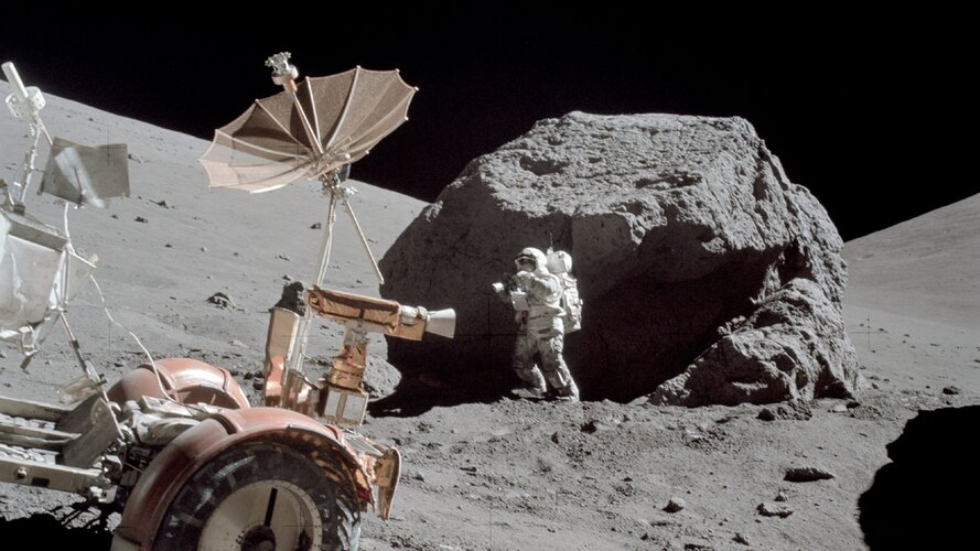 Apollo 17 Harrison Scmitt and rover