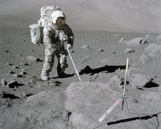 Apollo 17 rock sampling