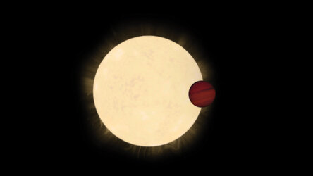 Artist's impression of star HD 93396 and its hot Jupiter planet, KELT-11b