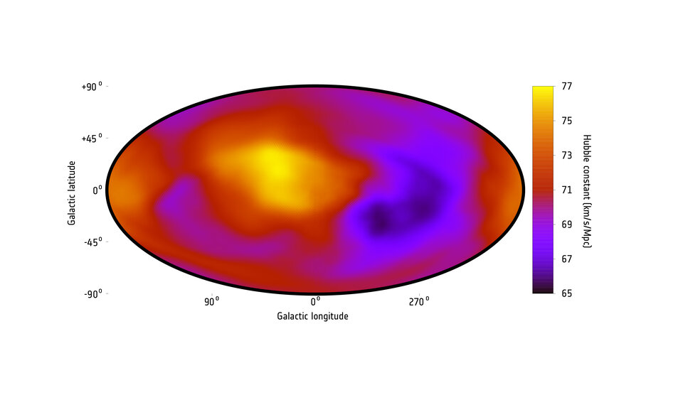 A map showing the rate of the expansion of the Universe in different directions across the sky as measured by the current study