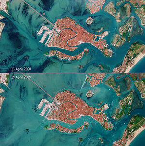 The Venetian lagoon appears almost deserted following Italy's lockdown to limit the spread of the coronavirus disease - as seen by Copernicus Sentinel-2
