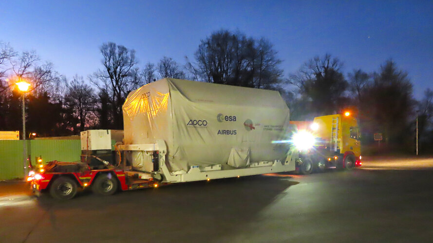 ESA's Jupiter explorer Juice arrives for final integration at Airbus'facilities in Friedrichshafen, Germany