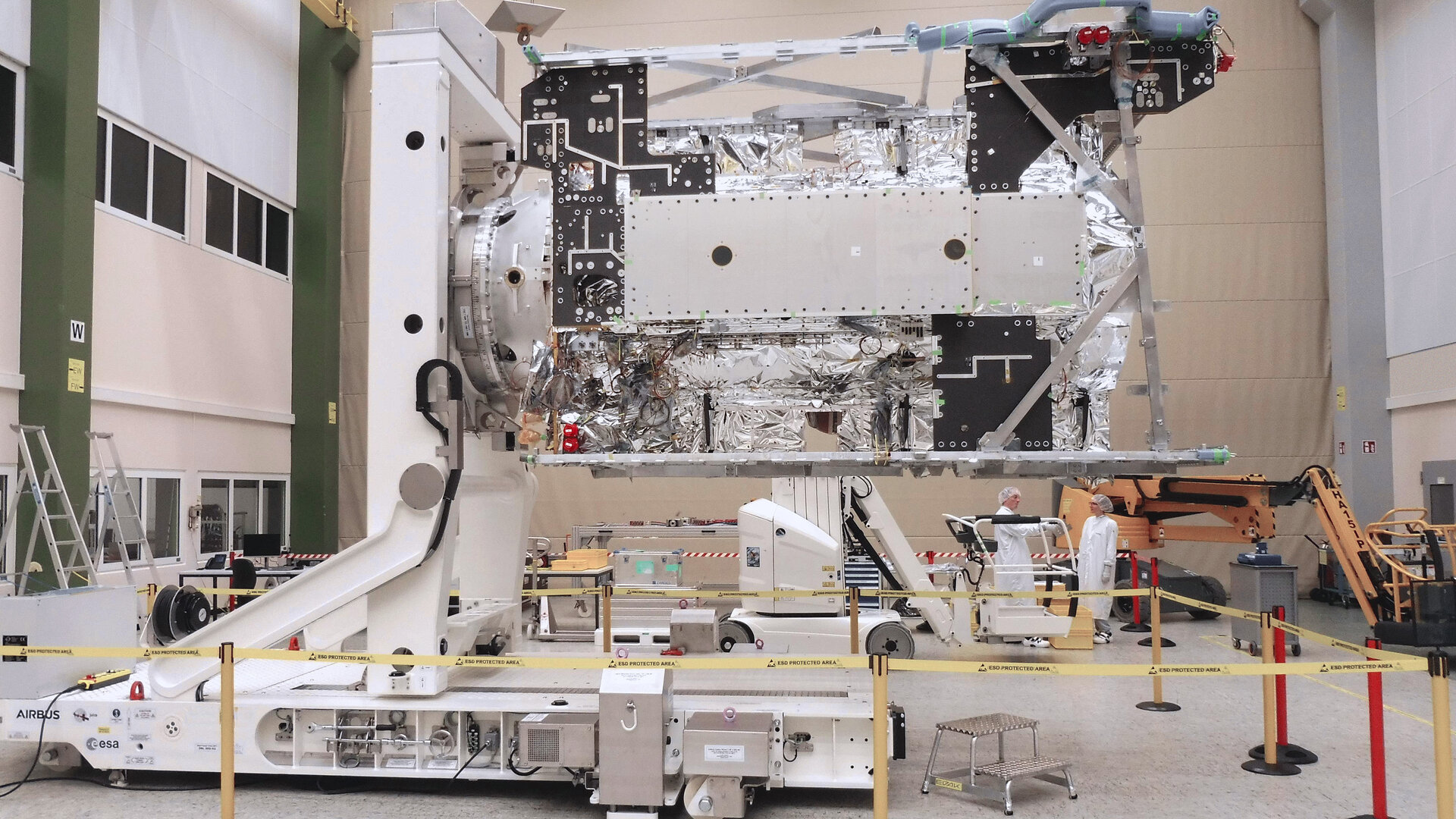 ESA's Jupiter explorer Juice at Airbus' facilities in Friedrichshafen, Germany, ready for final integration