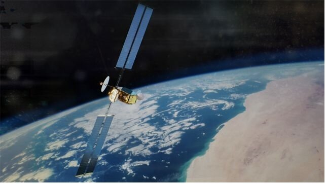 Artist's impression of OneSat telecommunications satellite
