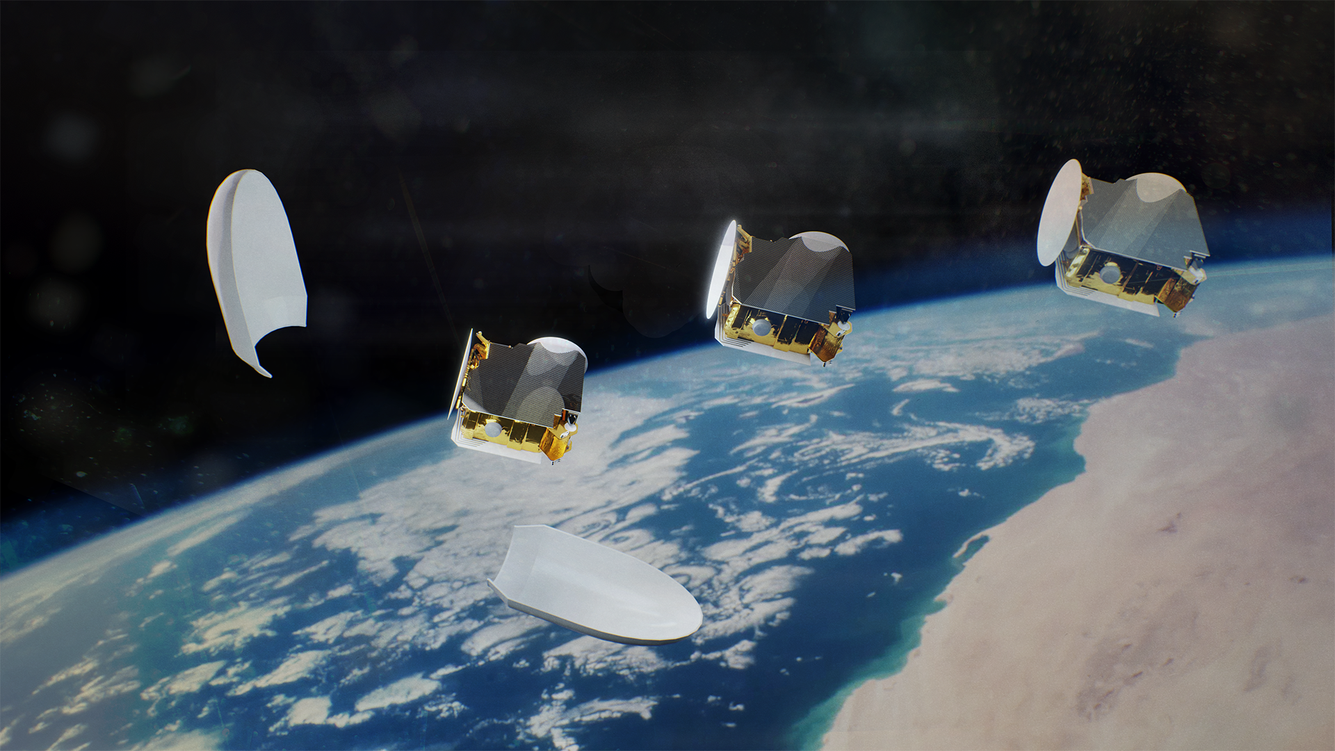 Artist's impression of three OneSat telecommunications satellites