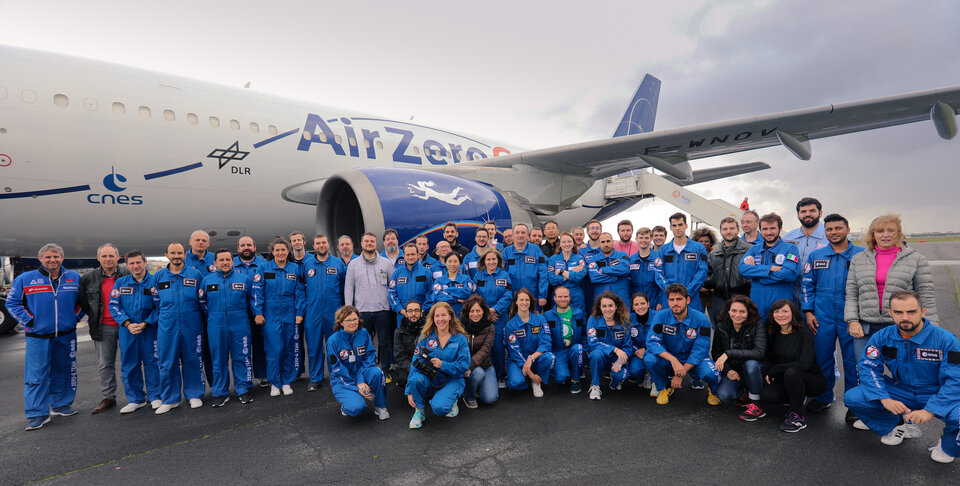 Group photo from ESA's 72nd parabolic flight campaign