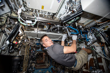 Hands on work in the Space Station