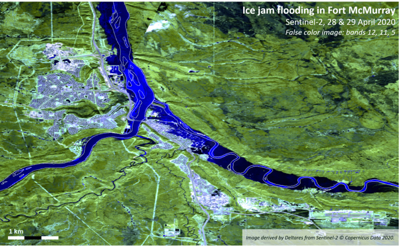 This false-colour image captured by Copernicus Sentinel-2 shows the extent of an ice jam on the Athabasca River in Canada - leading to the flooding of Fort McMurray.